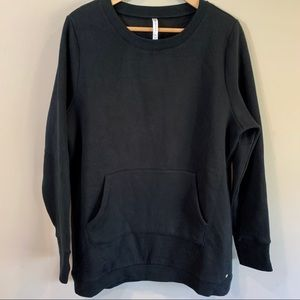 Fabletics Tops - FABLETICS Black Long Crew Neck Sweatshirt Size XL